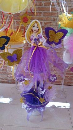 Do Princess Rosalina with stars instead. Rapunzel Birthday Party, Princess Theme Party, Tangled Party, Cinderella Birthday, Barbie Birthday, Disney Princess Party, Princess Birthday, Birthday Parties, Party Centerpieces