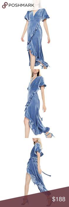 Blue Velvet Wrap Dress Brand New! On the hanger.   The Selina dress is a wrap dress cut in a luxurious brushed blue velvet. It has short flutter sleeves and the elegant ruffles highlight the asymmetric wrap skirt. Braided ties. MISA Dresses Midi