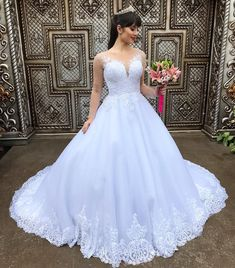 Ball Gown Round Neck Long Sleeves Wedding Dress with Beading Formal Dresses For Weddings, Princess Wedding Dresses, Wedding Dress Trends, White Wedding Dresses, Cheap Wedding Dress, Bridal Dresses, Wedding Gowns, Dress Formal, Applique Wedding Dress