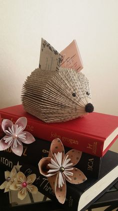 hedgehog folded book memo note holder desk by CaronsCreativeCrafts