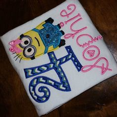 Girl Minion Birthday Shirt by SouthernBlingBowtiqu on Etsy https://www.etsy.com/listing/186485762/girl-minion-birthday-shirt