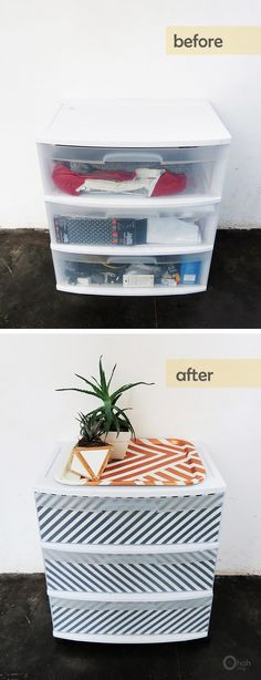 DIY and Crafts: How to upgrade plastic drawers Plastic Storage Drawers, Plastic Drawer Makeover, Diy Decorate Plastic Drawers, Decorating Plastic Drawers, Craft Paper Storage, College Dorm Rooms, Do It Yourself Home, My New Room, Dorm Decorations