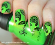 lime green paisley stamped nails