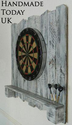 Handmade rustic driftwood dartboard backboard with shelf recycled pallet wood Dart Board Backboard, Dart Board Cabinet, Recycled Pallets, Wood Pallets, Pallet Wood, Pallet Benches, Pallet Tables, Pallet Bar, Outdoor Pallet