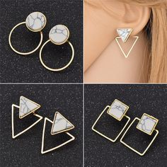 Designed Womens Geometrical Marble Earrings Square Triangle Round Jewelry Chic