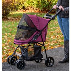 The Happy Trails Lite No-Zip Pet Stroller features a unique elevated paw rest so…