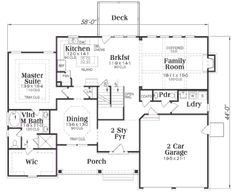 Craftsman Style House Plan - 3 Beds 2.5 Baths 2351 Sq/Ft Plan #419-188 Floor Plan - Main Floor Plan - Houseplans.com