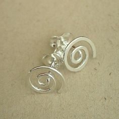 Handmade Small Sterling Silver Spiral Earring Posts/studs