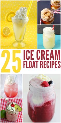 Be sure to try out these 25 Ice Cream Floats recipes! These are a great dessert to have during the hot summer months and great way to stay cool.shared at katherines corner Ice Cream Desserts, Frozen Desserts, Ice Cream Recipes, Frozen Treats, Fun Desserts, Delicious Desserts, Dessert Recipes, Ice Cream Floats, Sorbets