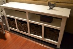 Sofa Table Design, Build A Sofa Table Best Inspiring Guide Resilient White Stained Finish Long Rectangle Solid Wood Console Rack Baskets Underneath Feature ~ Amazing Ideas Build A Sofa Table
