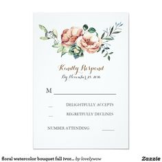 floral watercolor bouquet fall ivory wedding rsvp