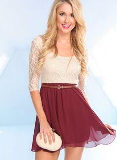burgundy skater dress #falldress #holidaydress