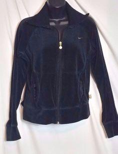 Nike Black Velour Warm up Jacket with Gold Accents Size L (12-14) #Nike #CoatsJackets