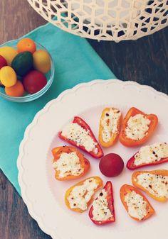 Feta Stuffed Bell Pepper Recipe- healthy vegetarian side dish or appetizer idea   Rainbow Delicious