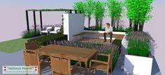 3D Sfeerbeeld #strakketuin #pergola #strak #zwevend #bankje #thermischessen #bamboe #klimhortensia #keramiek #verhoogdeborder #wit #zitten #relaxen