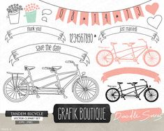 Tandem bicycle pink hand drawn vector clip art, wedding, flowers, save the date, label, invitation on Etsy, $5.50