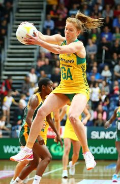 Tegan Philip of the Diamonds in action during the 2017 Netball Quad Series between the Australia Diamonds and the South Africa Proteas at AIS on August 30, 2017 in Canberra, [CONTRY].