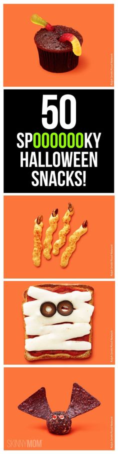 50 spooky and easy to make halloween snacks! Perfect for Halloween parties, seasonal after school snacks or a special treat in your child's lunchbox! Popculture.com #snacks #holidaysnacks #holiday #halloween #halloweensnacks #halloweenpartyfood #kidsnacks #healthysnacks #snackideas