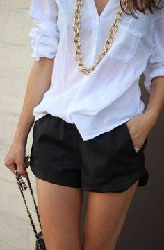 love the gold against the white and black.. perfect outfit for wedges