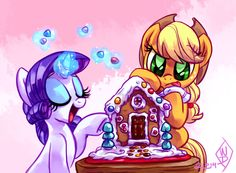 Rarity and Applejack building a gingerbreadhouse