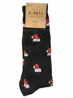 K. Bell Christmas Santa Hats Design Fashion Crew Socks, Men's Size 10-13