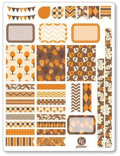 One 6 x 8 sheet of Autumn Mood decorating kit/weekly spread planner stickers cut and ready for use in your Erin Condren life planner, Filofax, Plum