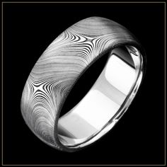 JET Collection   Damascus Steel Men's Wedding & Commitment Ring with the unLINER (DAM-JET-UL1)   Unique Damascus Steel Men's Rings by Andrew Nyce Designs