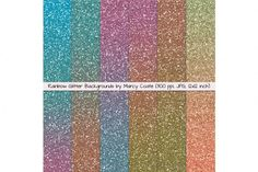 Rainbow Glitter Backgrounds / Digital Papers By Marcy Coate