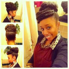 Faux bun with bangs Achieved with Marley braiding hair.  May try this for #INHMD