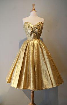 Metallic Gold Moire Dress By Suzy Perette 1950s Retro Vintage Dresses