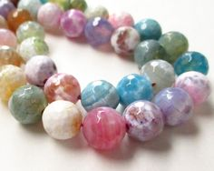 """Round Agate Beads, Multi Colored Round Agate Beads, Faceted Round Agate Gemstone,10mm, 7.5"""" Approx, Diy Easter Pastel Jewelry Making by BijiBijoux on Etsy https://www.etsy.com/listing/224097433/round-agate-beads-multi-colored-round"""