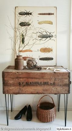 Rustic side table: repurposed vintage chest from a fleamarket .vintage table legs - Home Decor Like Rustic Side Table, Side Tables, Decoration Entree, Vintage Chest, Shipping Crates, Home And Deco, Vintage Industrial, Industrial Chic, Industrial Furniture
