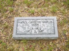 Esther's Roots and Ramblings: Tombstone Tuesday: Nancy Caroline Hodges #genealogy