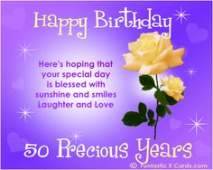happy 50 birthday poem | 50th Birthday Card. *FUN*tastic eCards.com - Pretty yellow roses ecard ...