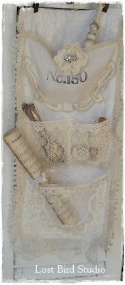 Lost Bird Studio -use an old dresser scarf and add lace and smaller scarves for pockets.