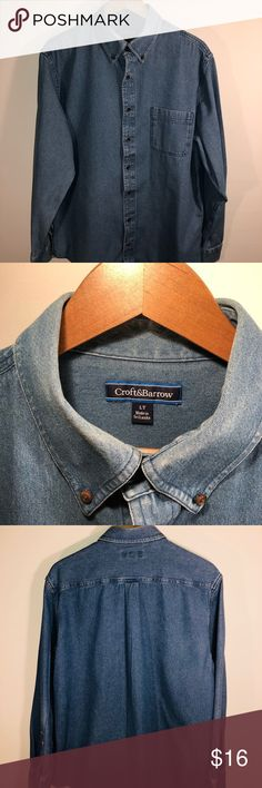 Croft & Barrow Blue Denim Button Down Size L Croft & Barrow Blue Denim Jeans Shirt L/S Button Down Collar Size L Large  Pre-owned but in like new condition. croft & barrow Shirts Casual Button Down Shirts