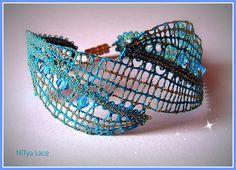 Handmade bobbin lace bracelet with Swarovski crystals by NiTyaLace