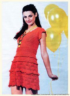 Crochetemoda: Crochet - Vestido Vermelho