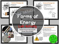 Get your students up and moving with this HANDS-ON Forms of Energy Station Lab activity. This product is FULLY EDITABLE so that you can edit to fit the needs of your classroom and students. Students will practice identifying many different forms of energy and energy transformations such as kinetic & potential energy (mechanical energy), chemical energy, light/radiant energy, thermal/heat energy, magnetism, electricity, electromagnetic energy, sound energy, and nuclear energy.Included in t...
