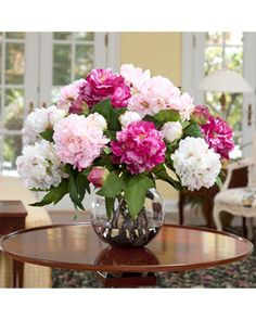 Fuschia & White Deluxe Artificial Peony Floral Centerpiece: I would prefer fresh, but this is very pretty. Love fresh flowers in the house