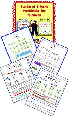 These two workbooks are great for your beginning math instruction!    Introduce the numbers 0 - 10 and then 10 - 20 with these workbooks. The children trace and write the numerals, fill in counting trains or 10-frames, and then make sets on each page.  Save 20% by purchasing these 2 workbooks as a bundle!