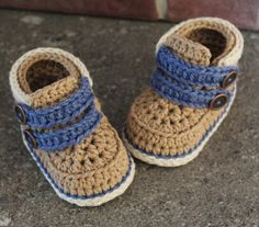 "baby boys bootees crochet pattern Shoes ""Cairo Boots"" PATTERN ONLY"