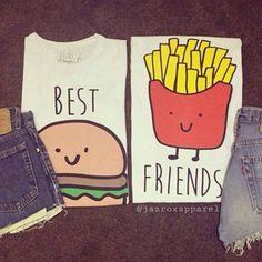 t-shirt burger and fries top best friends top best friends