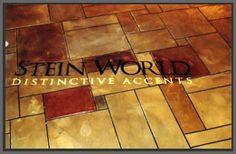 Commercial floor made over with decorative concrete accents.  Concrete Surfaces Lexington, NC