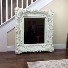 Large Mirror White Mirror Cottage Chic Mirror Wall by ShabbyShores