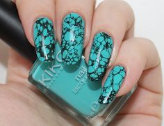 Turquoise Gemstone Nails featuring Kiko 344