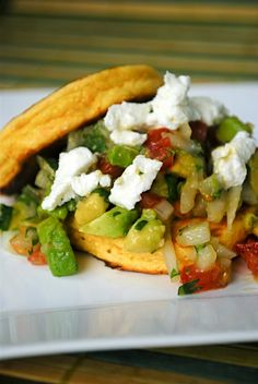 Avacado Goat Cheese Salsa and Corn Cakes from Fat Girl Trapped in a Skinny Body. MUST try!