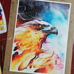 """""""""""Burning Sky"""" Watercolours on Canson Montval size 27,5x37,5 cm 300gsm.  Happy Holidays. #watercolor #watercolour #art #artwork #painting #illustration…"""""""