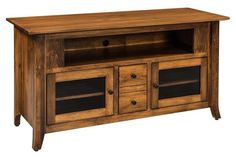 Amish Vanderbilt Flat Screen TV Cabinet - Quick Ship Brown maple wood shines in the Vanderbilt. You can choose the finish color and hardware. Compartments for media storage. Amish made by hand and available Quick Ship with a build time of 2 to 3 weeks.