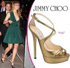 f27066e5b82c Jennifer Lawrence wearing Jimmy Choo Heels with green dress